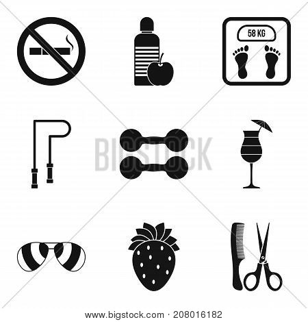 Personal care icons set. Simple set of 9 personal care vector icons for web isolated on white background