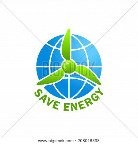 Save Energy green eco power and electricity concept icon for nature protection and earth global environment conservation. Vector isolated symbol of green leaf windmill and world globe