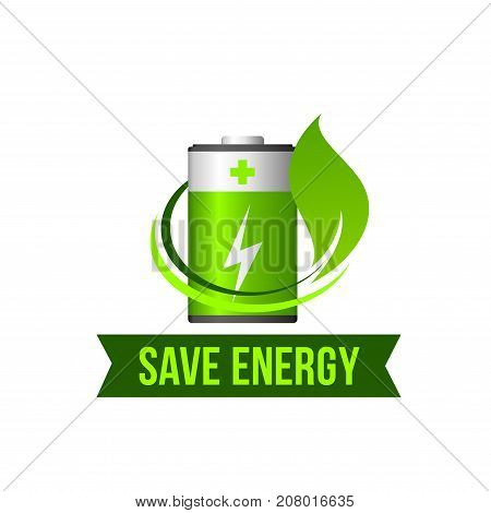 Save Energy or eco power icon of green leaf and battery for natural electricity and environment protection concept. Vector isolated symbol of nature electric source and green ribbon for planet saving