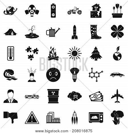 Disaster icons set. Simple style of 36 disaster vector icons for web isolated on white background