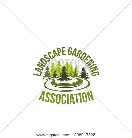 Gardening or landscape association and green parks company icon for urban horticulture and garden planting. Vector symbol of forest tree, woodlands of eco village square trees