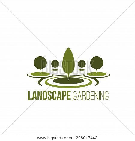 Landscape gardening association or company icon template. Vector isolated parkland square, forest trees or garden and woodlands for eco environment horticulture and green nature tree planting