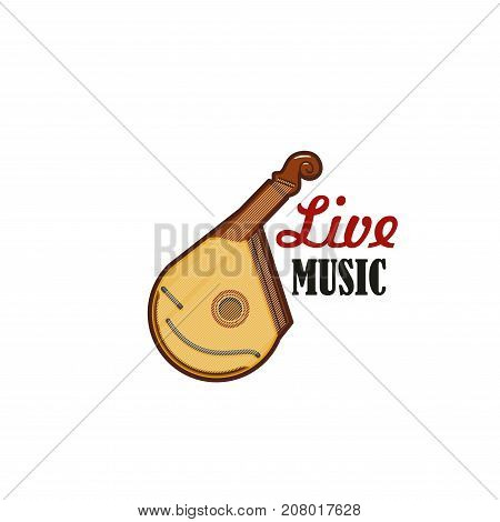 Bandura string folk musical instrument icon for live music festival or concert design template. Vector zither lute or ukulele and banjo guitar symbol for ethnic music concert or festival