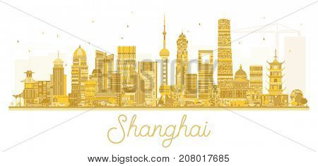 Shanghai City skyline golden silhouette. Simple flat concept for tourism presentation, banner, placard or web site. Shanghai isolated on white background.