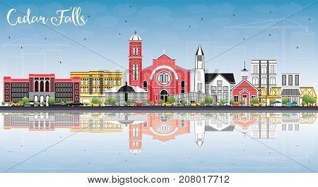 Cedar Falls Iowa Skyline with Color Buildings, Blue Sky and Reflections. Business Travel and Tourism Illustration with Historic Architecture.