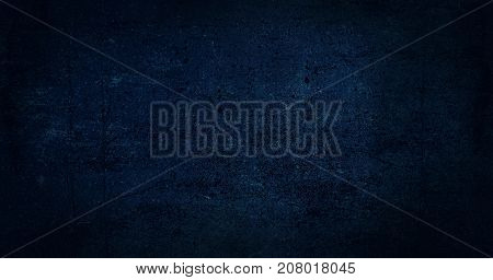 Blue dark background of school blackboard colored texture. Blue black vignetted aged texture background. Long format