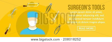 Surgeon tools banner horizontal concept. Flat illustration of surgeon tools banner horizontal vector concept for web design