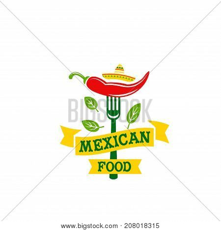 Mexican food cuisine or restaurant icon for cafe menu. Vector isolated Mexico spicy jalapeno red hot chili pepper and green vegetable leaf with yellow ribbon for Mexicana nachos or burrito bistro