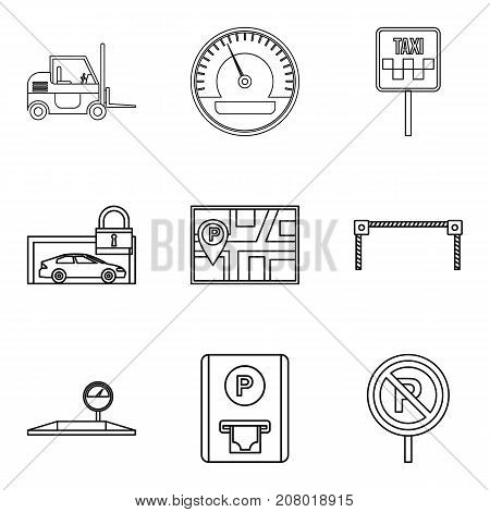 Penalty for parking icons set. Outline set of 9 penalty for parking vector icons for web isolated on white background