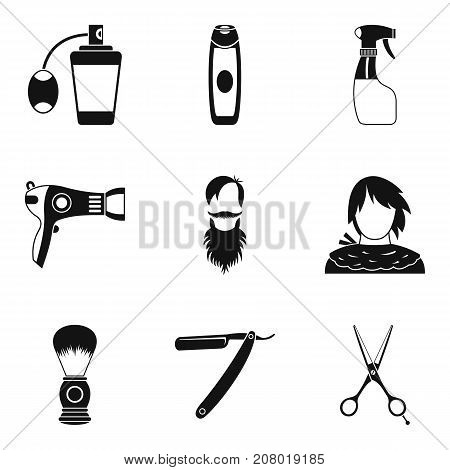 Facial vegetation icons set. Simple set of 9 facial vegetation vector icons for web isolated on white background