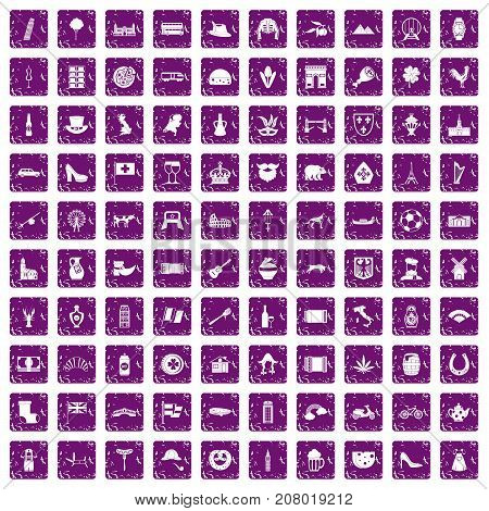 100 Europe icons set in grunge style purple color isolated on white background vector illustration