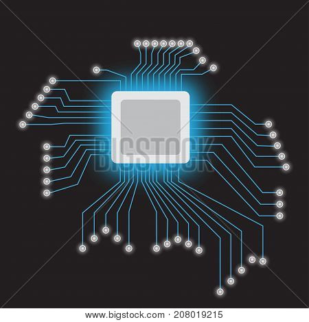 Microchip processor with neon lights on the dark background. Vector illustration.