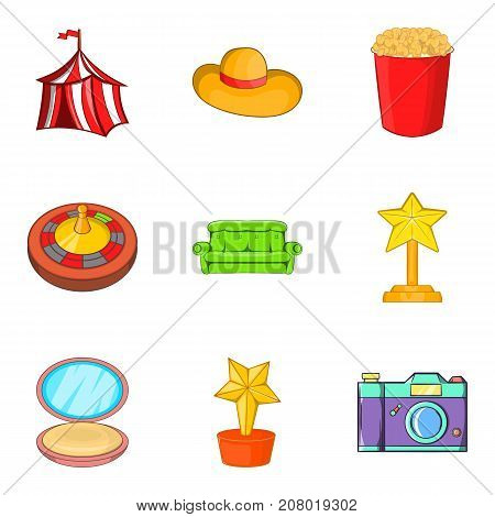 Dressing room icons set. Cartoon set of 9 dressing room vector icons for web isolated on white background