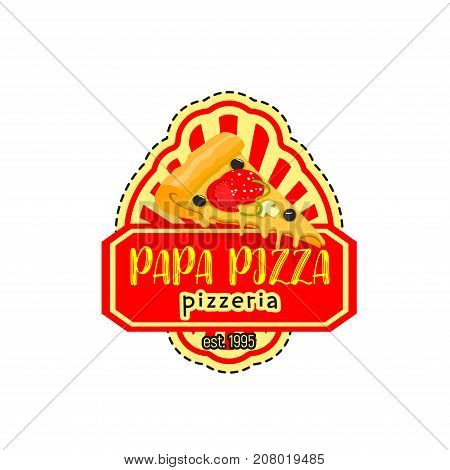 Pizza icon for Italian pizzeria restaurant of margherita or carbonara pizza slice with pepperoni sausage, mushroom or mozzarella cheese. Vector Papa Pizza fastfood symbol for restaurant bistro menu