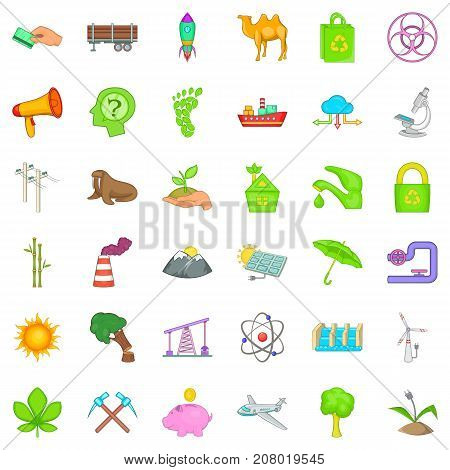 Pollution icons set. Cartoon style of 36 pollution vector icons for web isolated on white background