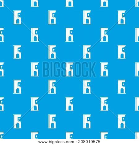 Retro style arcade game machine pattern repeat seamless in blue color for any design. Vector geometric illustration