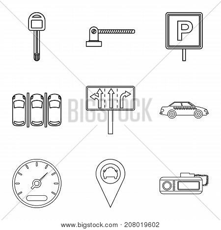 Adjustment icons set. Outline set of 9 adjustment vector icons for web isolated on white background
