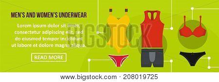 Men and women underwear banner horizontal concept. Flat illustration of men and women underwear banner horizontal vector concept for web design