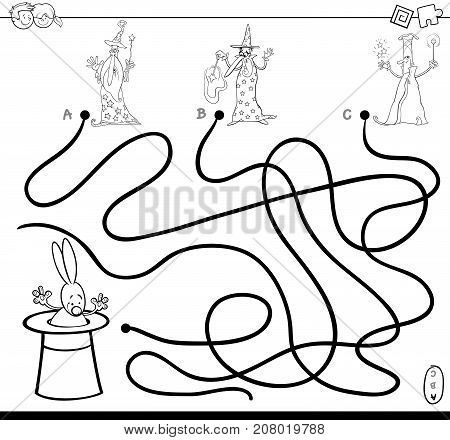 Paths Maze With Wizards Coloring Book