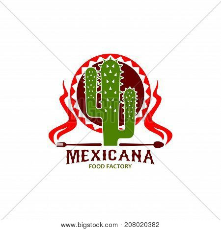 Mexican restaurant icon of cactus agave with spoon and fork of spicy hot chili jalapeno pepper. Vector isolated symbol Mexicana on sombrero hat ornament for Mexican traditional cuisine food bar