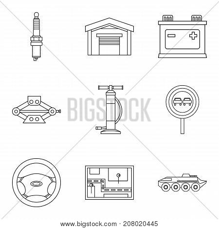 Repair on the go icons set. Outline set of 9 repair on the go vector icons for web isolated on white background