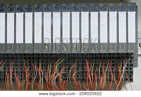Electronic modules with wires. Closeup . Electric distribution case