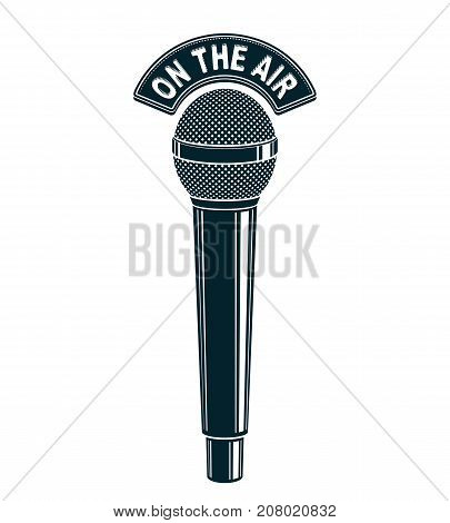 3d microphone vector illustration isolated on white. Radio broadcasting concept. On the air.