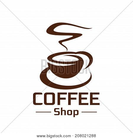 Coffee cup and hot steam icon for coffeeshop or cafe sign design template. Vector isolated icon of americano or espresso coffee drink for coffeehouse, cafeteria or coffee shop