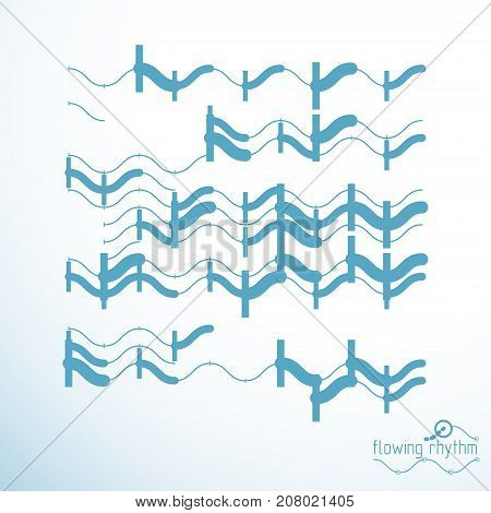 Abstract wavy lines rhythm pattern. Vector technical background artistic graphic illustration.