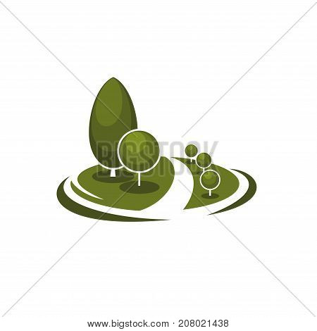 Landscape gardening green trees park or square icon design template for green ecology association or horticulture company. Vector parkland trees, forest or garden and woodland for eco environment