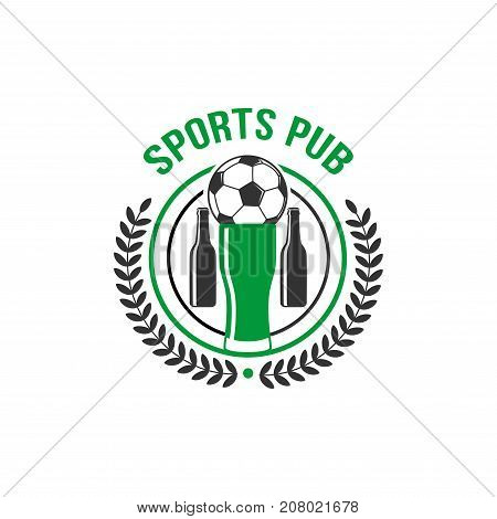 Soccer or football sports pub or team fan bar icon template. Vector isolated sign of football ball on victory cup, beer pub bottles and soccer championship winner laurel wreath