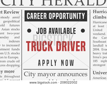 Truck driver career - job classified ad vector in fake newspaper.