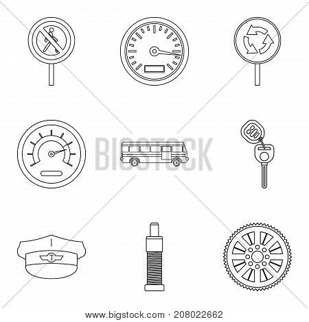 Speed mode icons set. Outline set of 9 speed mode vector icons for web isolated on white background