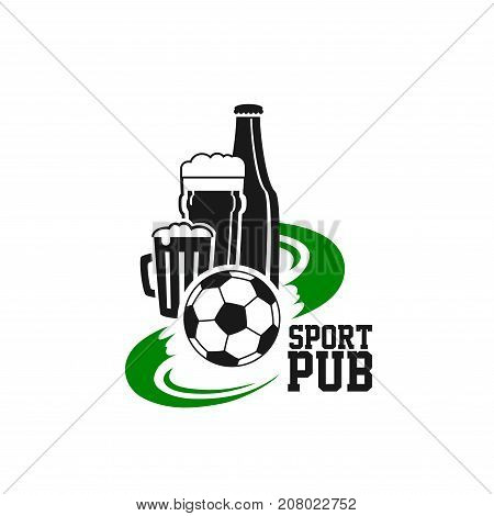 Soccer or football sport club or team league fan beer pub icon template. Vector isolated symbol of beer glass bottle, soccer ball on football playing field and goal gate for tournament championship