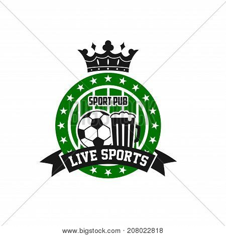 Soccer sports pub or football live game bar icon of soccer ball, winner cup award and beer bottles, stars on crown and goal gates. Vector isolated symbol for soccer team fans pub design template