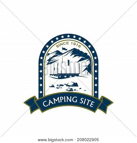 Camping site icon template for hiking sport club or mountaineering and climbing. Vector isolated symbol of house or tent camp in forest for extreme outdoor camping sport and scout tour adventure