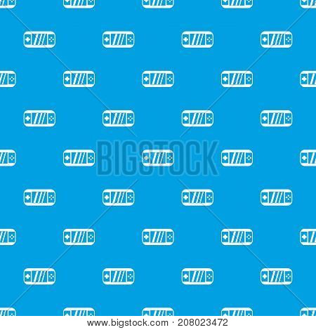 Portable video game console pattern repeat seamless in blue color for any design. Vector geometric illustration