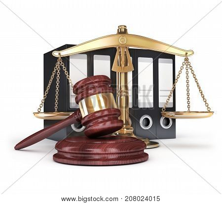 gold scales and gavel on white background. 3d illustration