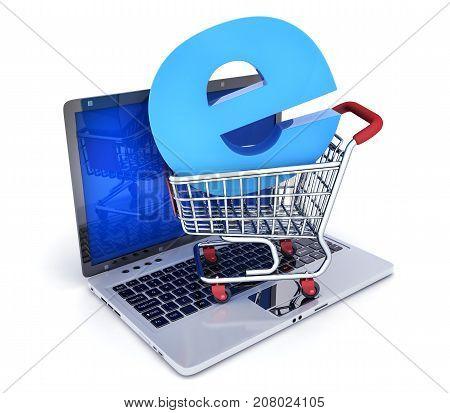 Laptop and shop cart. Abstract symbol e-shop. 3d illustration