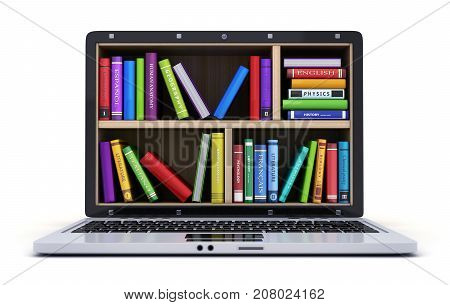 Laptop and many book on white background. 3d illustration