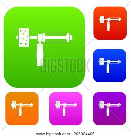 Precision grinding machine set icon color in flat style isolated on white. Collection sings vector illustration