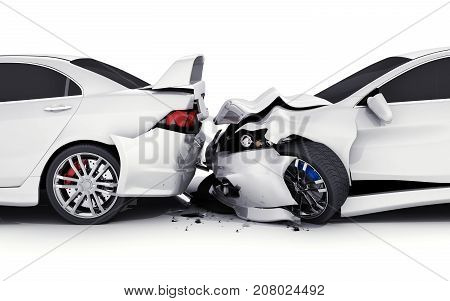Two car crash on white background. 3d illustration