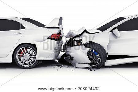 Two car crash on white background. 3d illustration