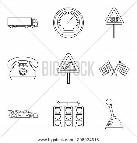 Rally icons set. Outline set of 9 rally vector icons for web isolated on white background