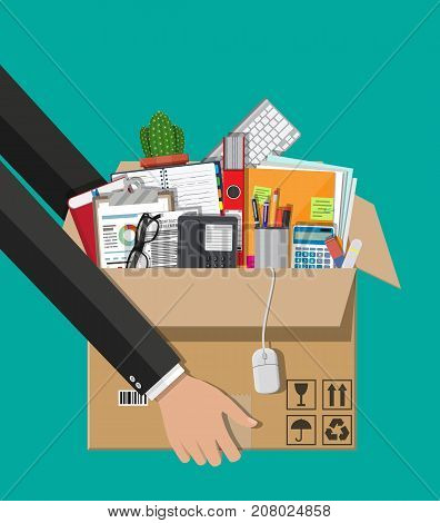 Moving to new office. Cardboard box in hand with folder, document paper, contract, calculator, pen, eyeglasses, book, ring binder, phone. Keyboard, mouse cactus Vector illustration in flat style