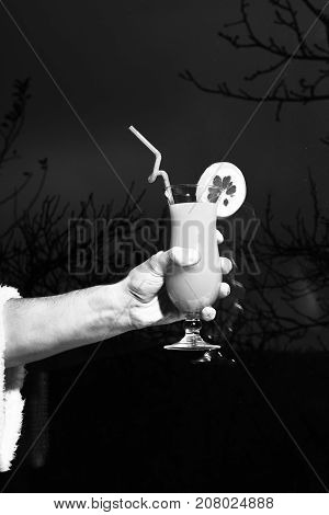 strong male hand holding glass of orange alcoholic beverage or nonalcoholic cocktail on dry dark trees background copy space