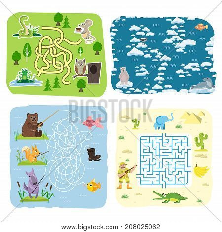 Maze game kids brain training education riddle puzzle mystery enigma way tangled road printable background vector illustration. Educational activity find school search labyrinth.