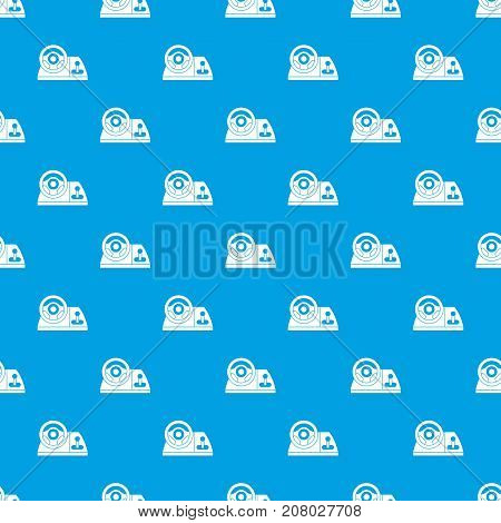 Computer steering wheel pattern repeat seamless in blue color for any design. Vector geometric illustration