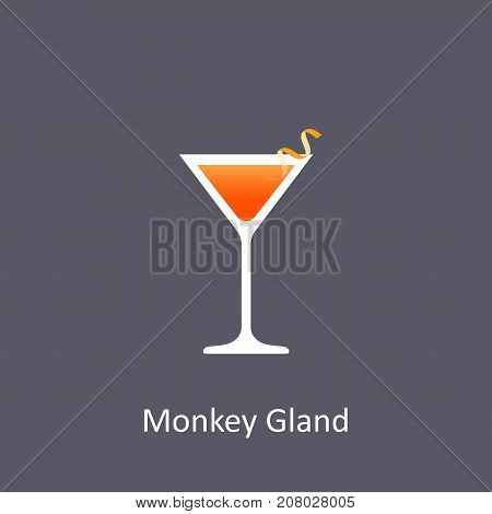 Monkey Gland cocktail icon on dark background in flat style. Vector illustration