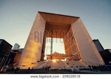PARIS, FRANCE - MAY 13: Architecture closeup in la Defense business district on May 13, 2015 in Paris. With the population of 2M, Paris is the capital and most-populous city of France.